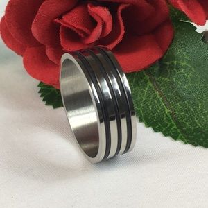 Kaki Jo's Closet Accessories - Men's Stainless Steel Black Striped Band Ring